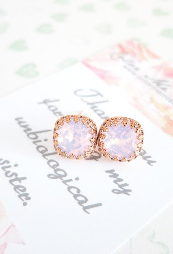 Emma - Swarovski Rose Water Opal light pink Crystal Bridal Post Stud Earrings Cushion Cut Square 10mm Wedding Bridesmaids Gifts E249 N179