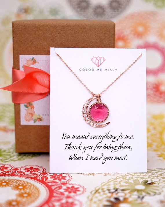 Personalised Love you to the Moon and Back necklace - Ruby Glass Drop and crescent moon, simple rose gold FILLED friends N267
