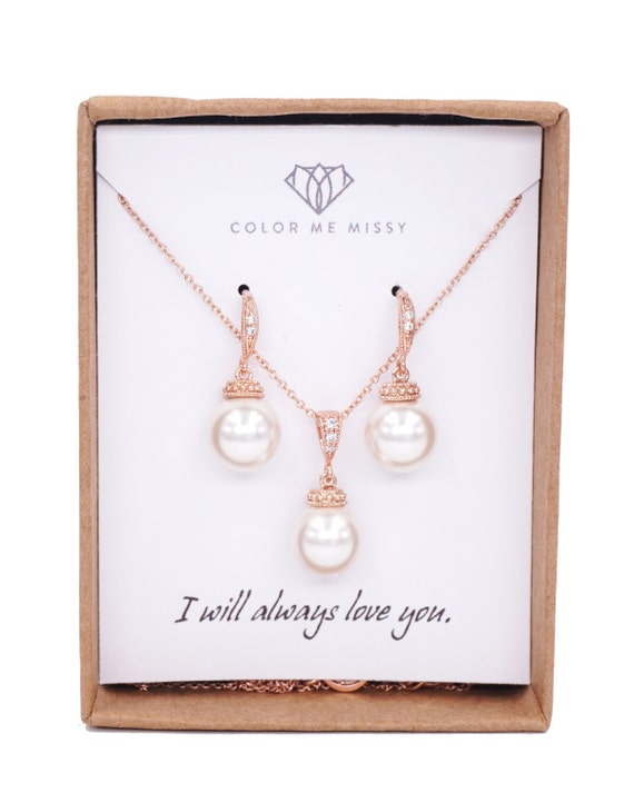 Rose Gold Bridal Swarovski Pearl Earrings Necklace  - bridal gifts, drop dangle, pink gold weddings, bridesmaid Personalised