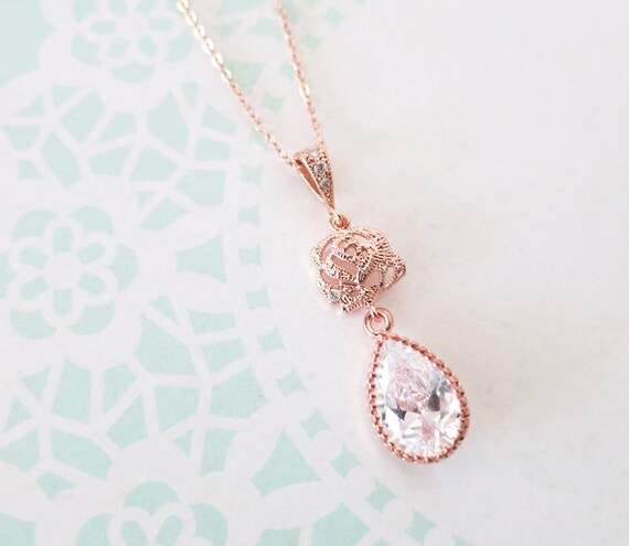 Rose Gold Cubic Zirconia Rose Flower Teardrop Necklace Earrings Set - gifts for her, bridal gifts, pink gold weddings, bridesmaid necklace