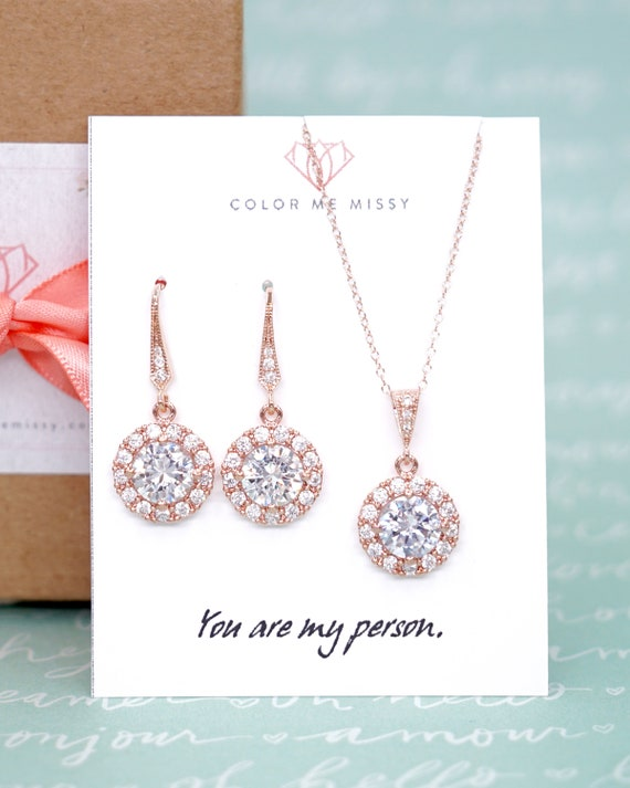 Rose Gold FILLED chain with Luxe Cubic Zirconia Round Drop necklace, Halo style crystal necklace, Wedding Bridal bridesmaid necklace