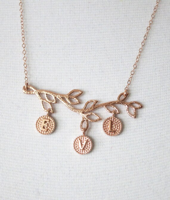 Personalized Rose gold Family Branch necklace - simple rose gold filled necklace, gifts for her, family tree, letter, initial, chic jewelry