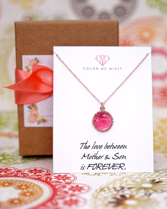 Rose Gold Ruby Red Glass drop FILLED Necklace - personalised gifts for her, round, Wedding Bridesmaid bridal shower gifts weddings