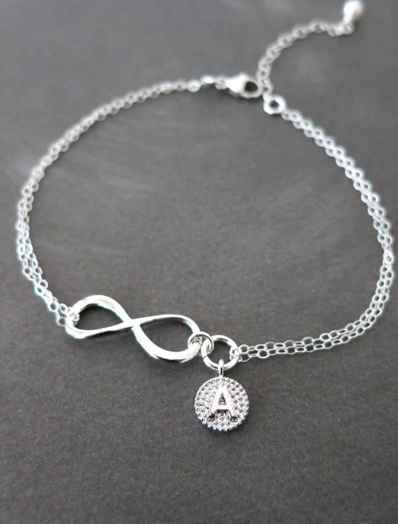 Personalized Silver Infinity Bracelet - Infinity charm, Sterling Silver Chain, forever love, bridal, bridesmaid, best friends
