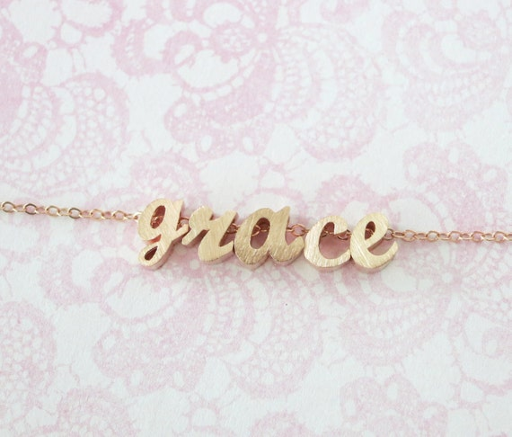 Personalized Rose Gold Name Bracelet - Rose Gold Initial Rose Gold Filled Chain, monogram, friendship, custom couples bridal bridesmaid