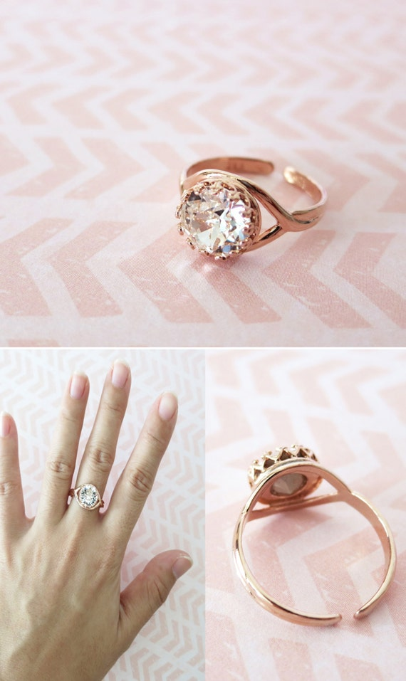 Rose Gold Swarovski Crystal Ring - Clear Round Crystal Rose Gold Adjustable Ring, simple, sparkly, chic, elegant ring, fashion