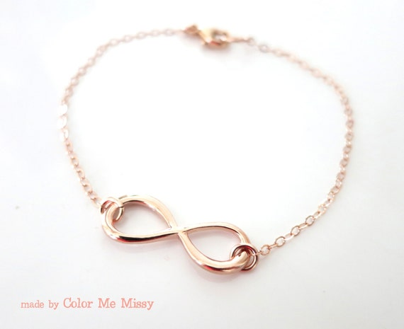 Infinity Bracelet - Rose Gold filled, Infinity charm, forever love, best friend, friendship, bridesmaid, daughter, mother - B0006RG