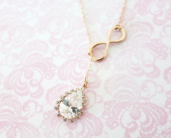 Rose Gold Luxe Teardrop and Infinity Lariat, Y Necklace, Infinity lariat necklace, bridesmaid gift, pink gold wedding bridesmaid necklace