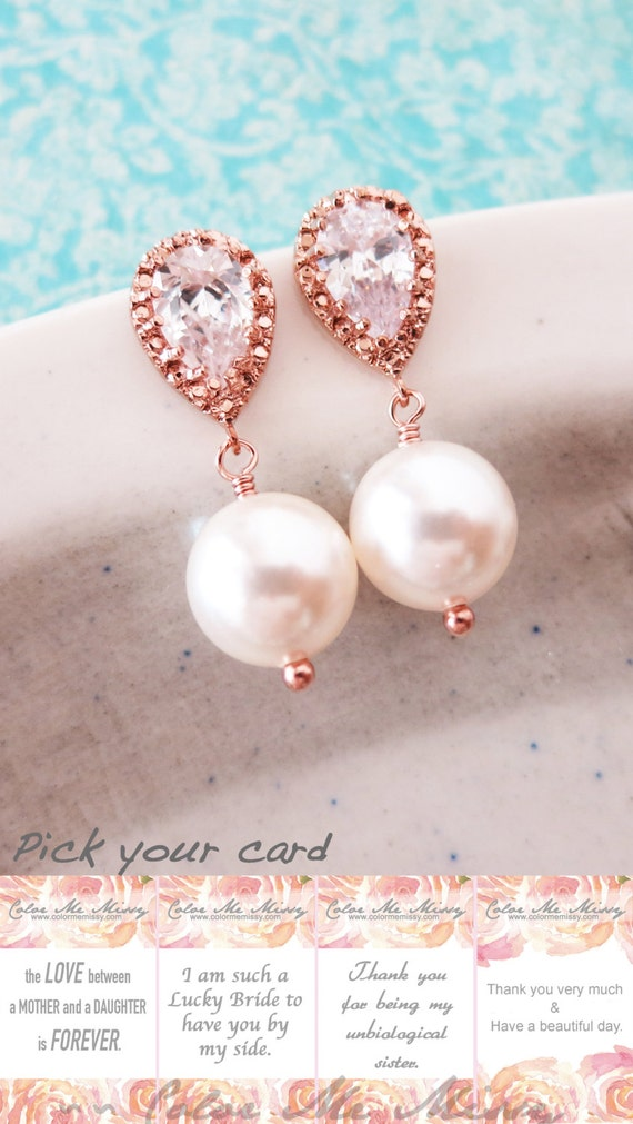 Rose Gold Cubic Zirconia Teardrop Earring with Swarovski Pearl drop - bridesmaid earrings, bridal shower gift, pink gold weddings, Charlotte