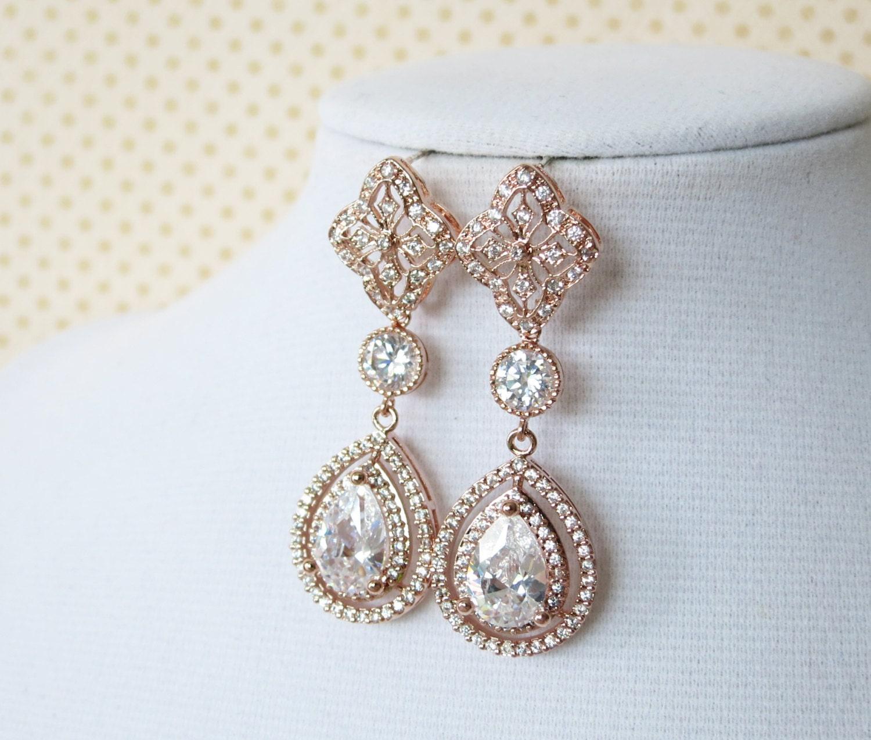 Rose Gold Teardrop Deluxe Cubic Zirconia Earring Chandelier Earrings Vintage Halo Style Long Bridal Wedding