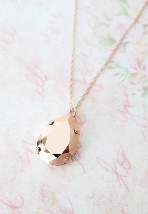 Rose Gold FILLED Swarovski Rose Gold Crystal Teardrop Necklace - rose gold weddings brides bridesmaid bridal shower gifts necklace