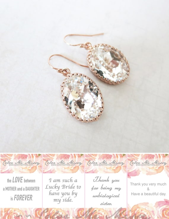 Rose Gold FILLED Swarovski Crystal Clear Oval Crystal Earrings, wedding bridal earrings, bridal bridesmaid gifts, pink gold weddings