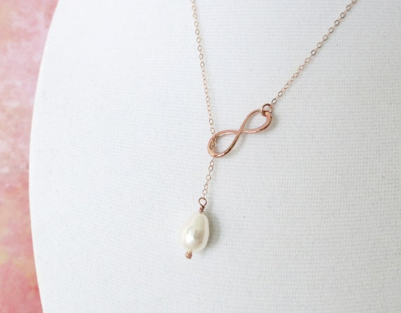 Rose Gold Infinity Personalised Initial Lariat, Y Necklace, Forever Love, sister, best friends, mom