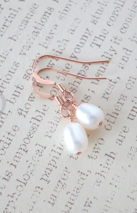 Rose Gold Filled Freshwater Pearl Earrings - White Freshwater Pearl, rose gold pink weddings, bridesmaid pearl earrings, simple jewelry