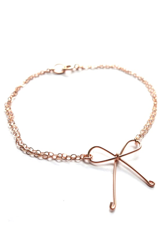 Tie the Knot - Rose Gold Filled Bracelet, Hand wired knot, Bridesmaid gifts, rose gold bow bracelet, Wedding jewelry, knot bracelet