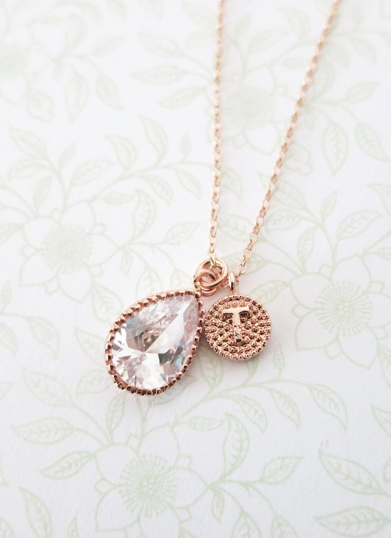 Personalised Rose Gold FILLED chain Cubic Zirconia Teardrop Necklace - initial letter, Wedding Bridesmaid bridal shower gifts jewelry
