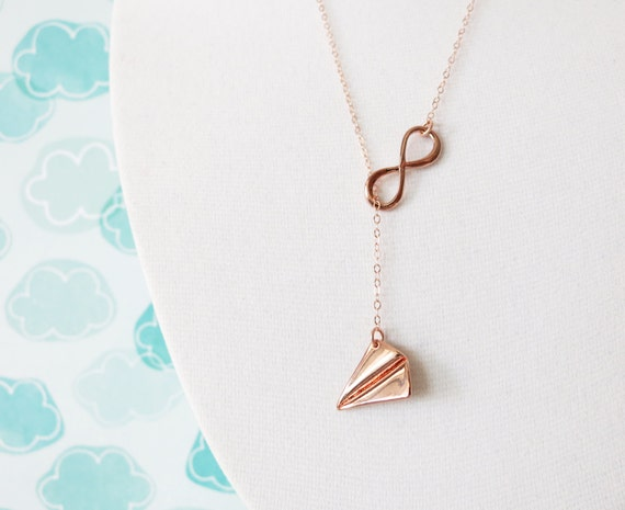 Rose Gold Paper Airplane and Infinity Lariat, Y Necklace, Forever Be Free, sister, best friends, mom, childhood friend sweetheart necklace