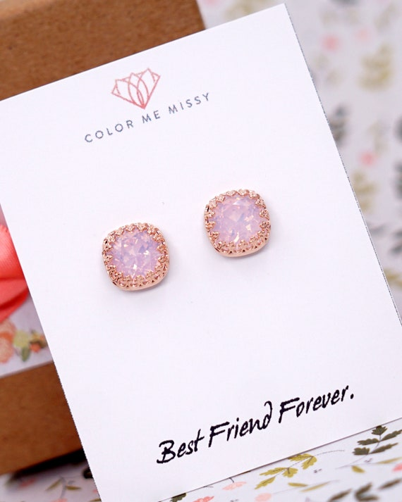 Swarovski Rose Water Opal light pink Crystal Bridal Post Stud Earrings Cushion Square 10mm Wedding Bridesmaids Gifts Personalised E249 N179