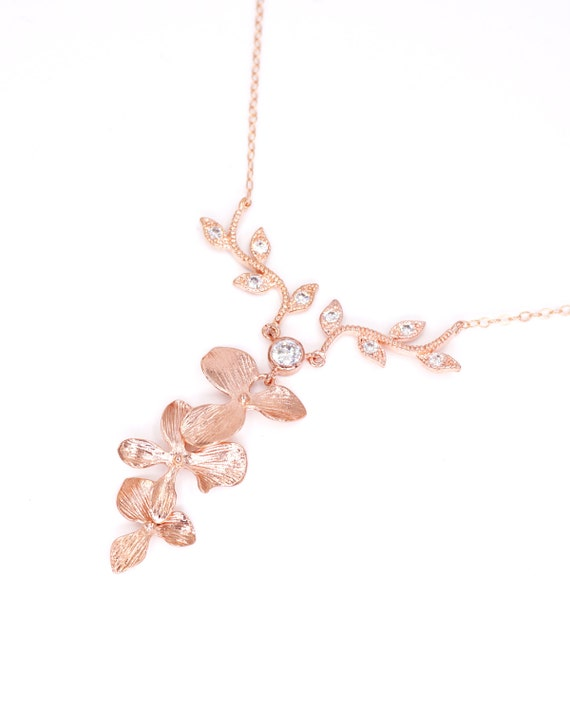 Magic - Rose Gold Orchid Flower Wedding Bridal Rose Gold FILLED Necklace, Bridesmaid brides Boho Garden weddings Crystal jewelry N207