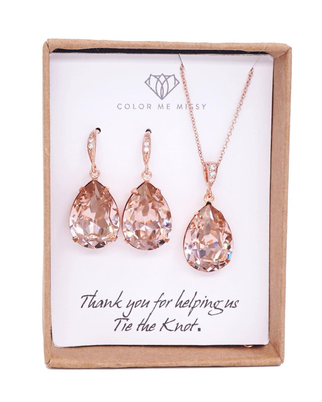 7870da90e Rose Gold Bridal Vintage Rose Swarovski Crystal Teardrop Earring Necklace -  bridal pink gold weddings, bridesmaid earrings, Carrie