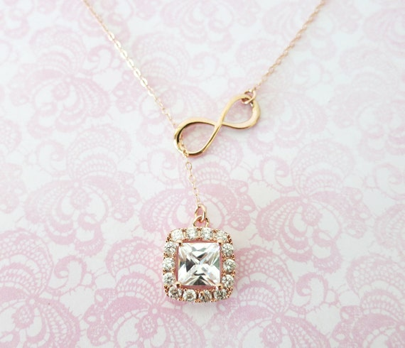 Rose Gold Luxe Cushion Sqaure Cubic Zirconia and Infinity Lariat, Y Necklace, bridesmaid gift, pink gold wedding bridesmaid necklace