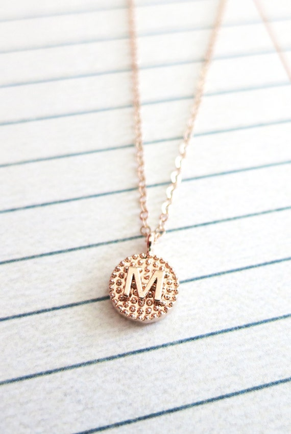 Personalized Rose Gold Letter Necklace - Rose Gold Initial Letter, Rose Gold Filled Chain, monogram, friendship sister bridesmaid jewelry