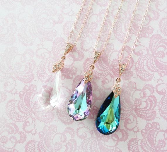 Rose Gold Bermuda Blue Faceted Teardrop Crystal necklace, Rose Gold Pink Peacock Wedding Bridal necklace, Bridesmaid - Katelyn