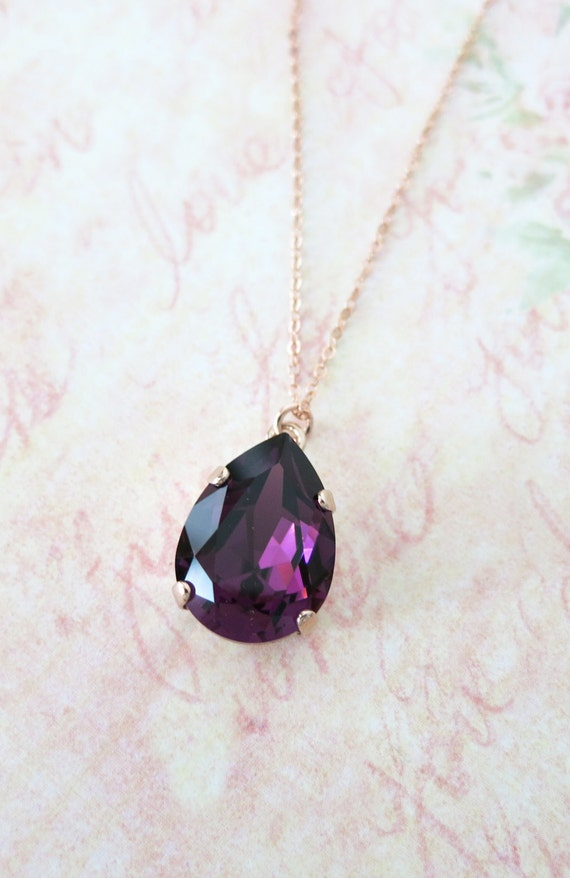 Rose Gold FILLED Swarovski Amethyst Crystal Teardrop Necklace - rose gold weddings brides bridesmaid bridal shower gifts necklace