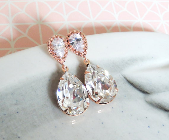 Rose Gold Bridal Swarovski Crystal Teardrop Earring - bridal gifts, drop dangle, pink gold weddings, bridesmaid earrings, Sandra