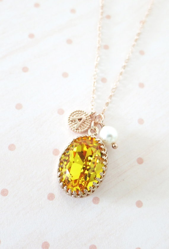 Rose Gold FILLED Swarovski Sunflower Yellow Oval Crystal Necklace, blush pink wedding bridal, bridal bridesmaid gifts, pink gold weddings