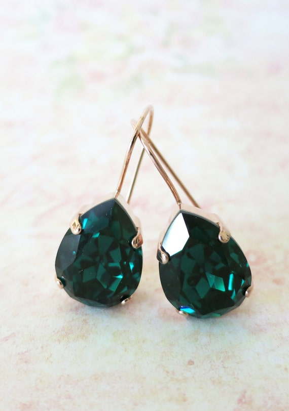 Emerald Swarovski Crystal Teardrop Rose Gold Earrings, wedding bridal earrings, bridal bridesmaid gifts, pink gold weddings, Ourania