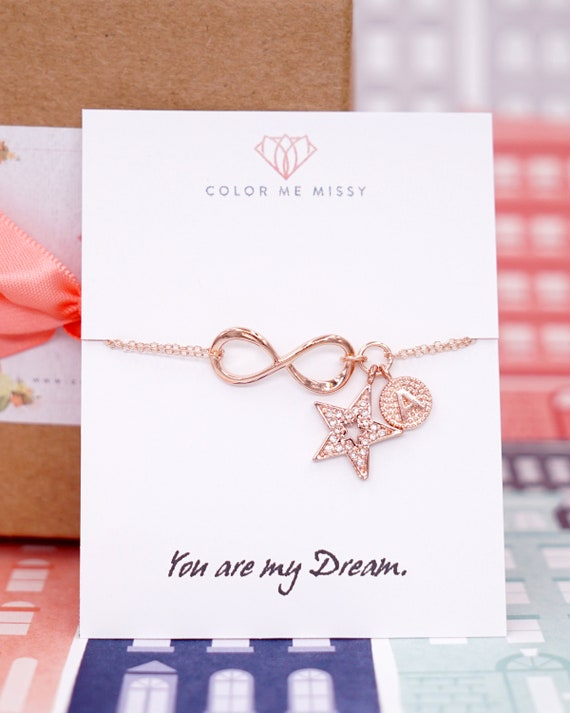 Personalized Rose Gold Infinity and Lucky Star Bracelet - Infinity charm, rose gold filled, forever love, bridal, bridesmaid, best friends