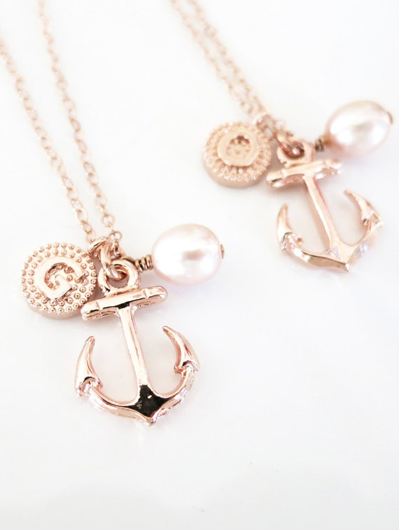 Personalized Anchor necklace - simple rose gold filled necklace, Freshwater Pearl, letter, initial, best friends, sisters, mum, navy