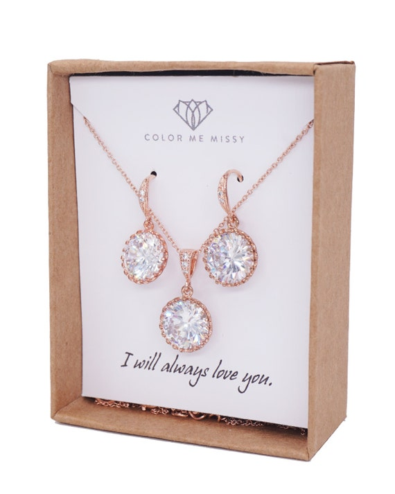 Rose Gold Cubic Zirconia Round drop Earrings Necklace - gifts for her, bridal gifts, pink rose gold weddings, bridesmaid jewelry, pamela