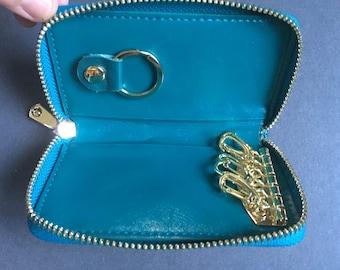 Vintage Genuine Leather Blue/Green Zip-Around Keys Holder