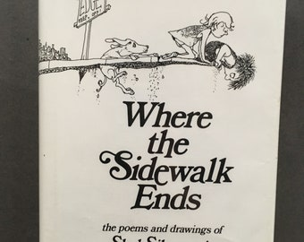 Vintage Where the Sidewalk Ends : Poems and Drawings by Shel Silverstein 1974, Hardcover