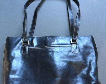 Vintage NORDSTROM Large Genuine Leather Black Shoulder Bag