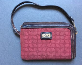 VINTAGE FOSSIL Small Genuine Leather and Canvas Wristlet, Clutch