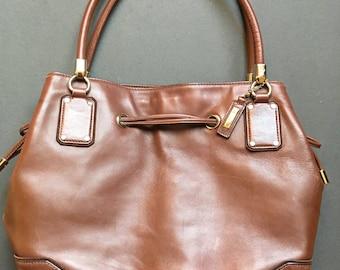 Vintage COLE HAAN Genuine Leather Large Brown Shoulder Bag