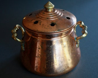 Vintage COPPER Small Pot with Cover and Brass Handles, Made in India.
