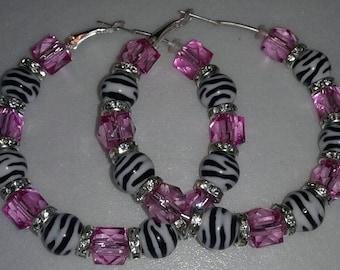 Pink Zebra print hoop earrings