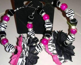 Pink zebra print earrings