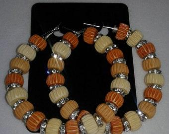 Log bead bling hoop earrings