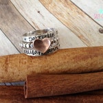 Personalized hand stamped initial ring set sterling silver copper heart love promise beaded ball band dot jewelry