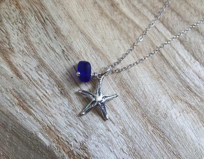 ef11f630c6efe1 Sterling silver starfish sea glass necklace cobalt blue | Etsy