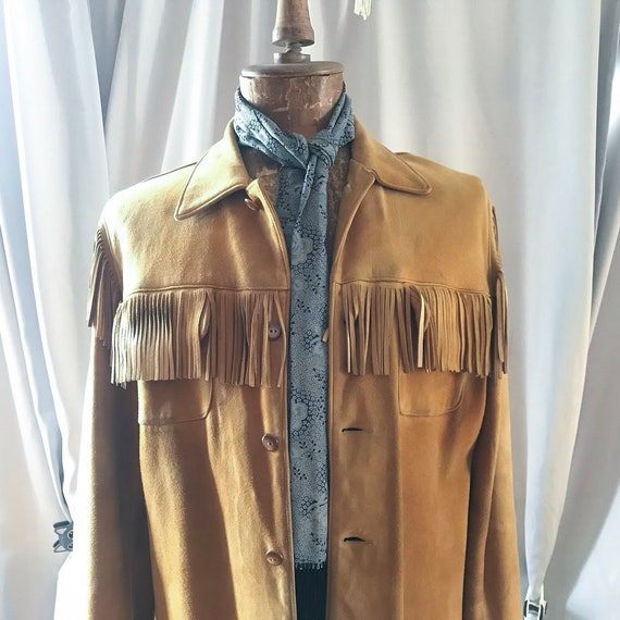 Vintage 1960's Men's Fringe Jacket, Tan, Suede,
