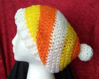 Bonbons au maïs Tuque pour bébé au Crochet, bonnet blanc jaune Orange,  Halloween chapeau au Crochet, livraison gratuite, prêt à l expédition,  B72-17-0207 34690e32189
