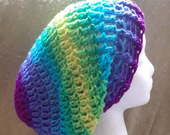 Self-Striping Purple, Blue, Green, Yellow Crochet Slouchy Beanie, Striped Crochet Slouchy Beanie,  FREE SHIPPING, Ready to Ship, B91-18-427