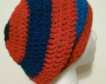 FREE SHIPPING, Red and Blue Crochet Hat, Red and Blue-Striped Crochet Slouchy Beanie, Crochet Hats, Winter Hats, Ready to Ship #29-705