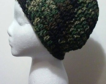 Camouflage Crochet Hat, Camouflage Crochet Beanie, Crochet Hats, Winter Hats, Slouchy Hats, Ready to Ship, FREE SHIPPING, B33-802-1/2